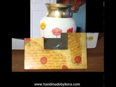 Handmade of decoupage.Decorated gifts on metal,wood,paper,glass