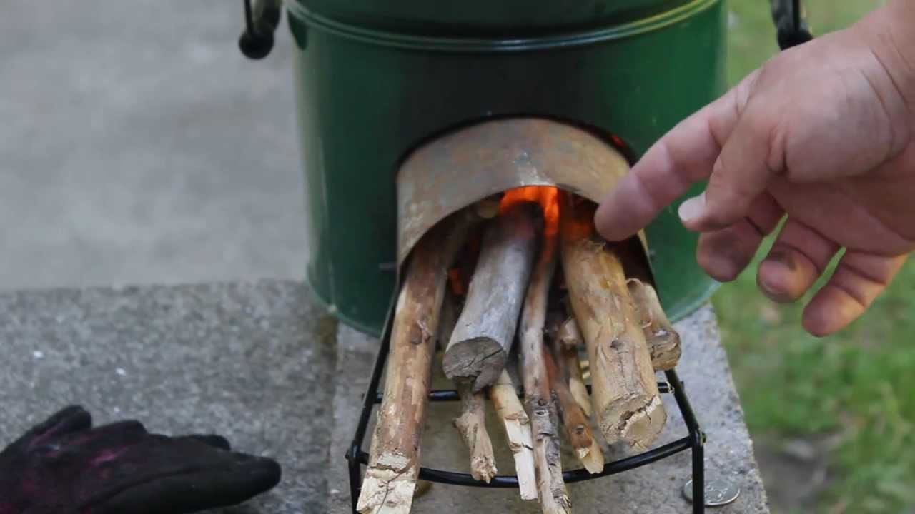 How to light a StoveTec Rocket stove with twigs and paper demonstration by Jimbo Jitsu