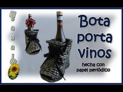 Bota porta vinos hecha de papel periódico - Boot wine holder made of newspaper
