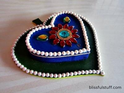 DIY How to decorate leaf shaped wooden kumkum box, haldi kumkum box. dibbi with kundan work