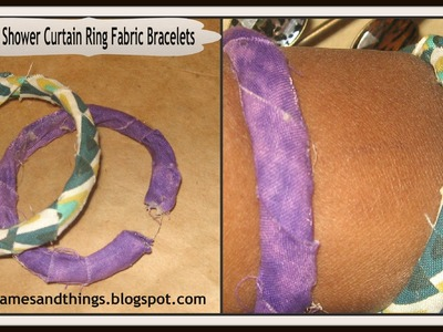 DIY: How to Make Fabric Wrapped Bangle Bracelets.DIY Shower Curtain Rings Fabric Bracelets