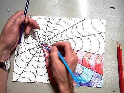 Op Art Vanishing Point Coloring A B Pattern (Part 2.2)
