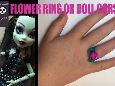 Rainbow Loom Flower Ring or Doll Corsage