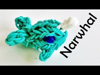 Rainbow Loom Whale. Narwhal (3D) Charm. design made with loom bands