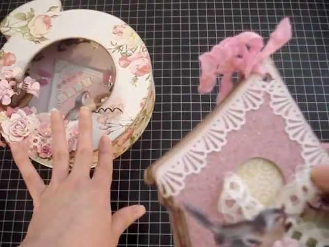 Shabby Chic Pocket Watch Shadow Box and Birdhouse Mini Album