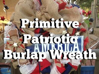 Primitive Patriotic Burlap Wreath