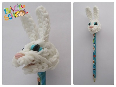Rainbow Loom easter bunny pencil topper Loombicious