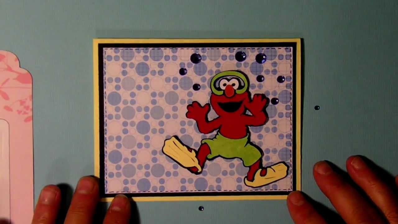 "Cricut Elmo ""pool party"" invitation card  Sesame Street Seasons cartridge"