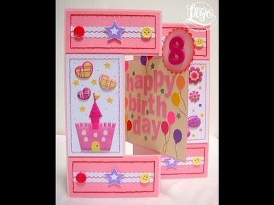 Little girl's birthday swing card - HB113