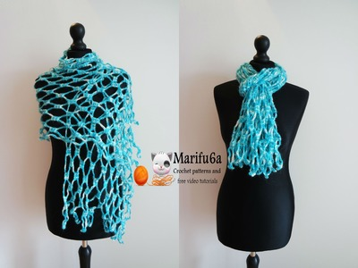 How to crochet easy scarf shawl for beginners from one ball free pattern tutorial