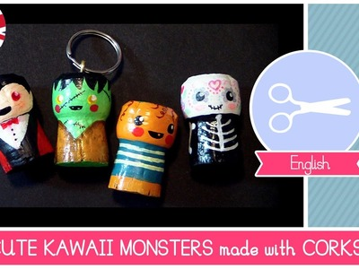 How to recycle wine CORKS to make DIY Halloween Cute Monsters (toys, key holders, magnets)