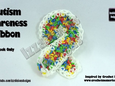 Rainbow Loom Autism Awareness Ribbon - Hook Only.Loom Less - Inspired by Crochet Memories