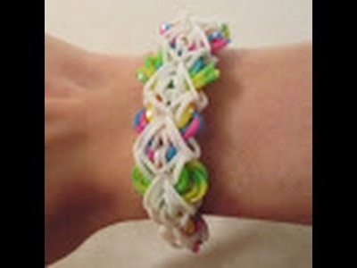 Rainbow Loom- How to make the Stained Glass Spiderweb Bracelet (Variation of the Triple Link Chain)