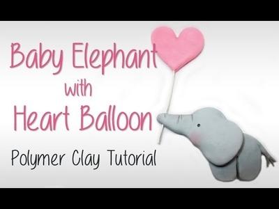 Baby elephant holding heart balloon - Polymer Clay Tutorial