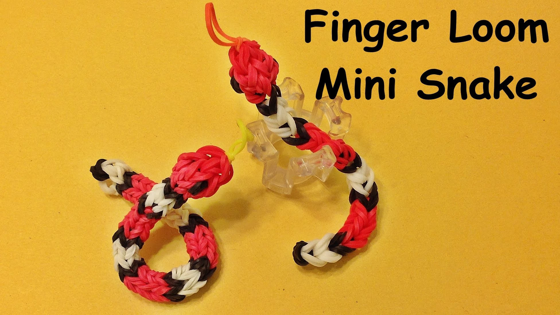 Rainbow Loom Baby Snake on the Finger Loom (make with loom bands)