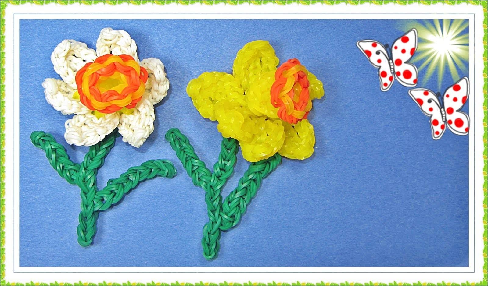 Rainbow Loom Flower. Daffodil (DIY Mommy)