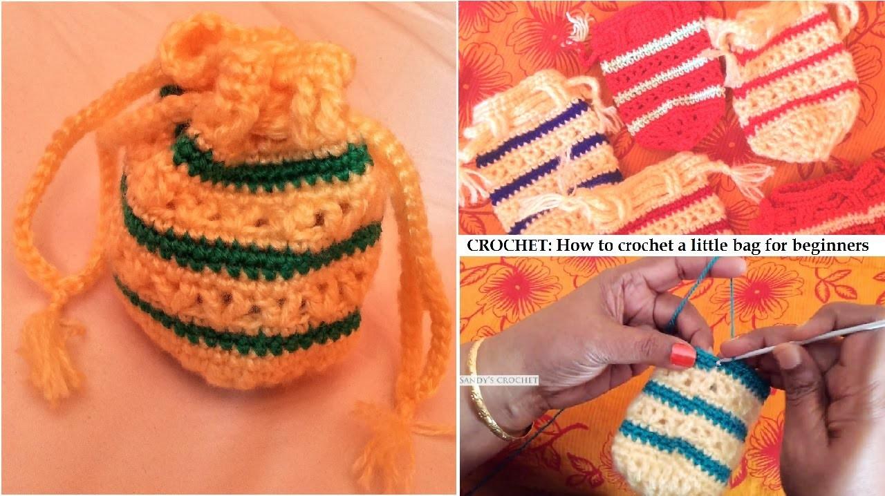 CROCHET: How to crochet a little hand pouch for beginners | Sandy