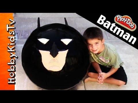 Mega GIANT Play-Doh Batman Surprise Head! Superhero Kinder Chocolate Egg Marvel HobbyKidsTV Toys