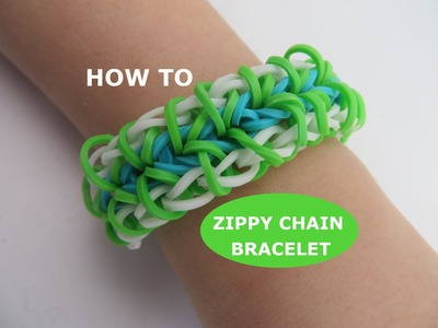Rainbow Loom : Zippy Chain Bracelet - How To Make Easy Step-by-step Tutorial