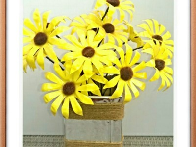 Tutorial: How to make a flower using recycled bottles(easy way)