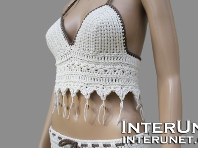 How to crochet halter summer top with shells - multi stitch pattern