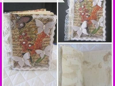 How to make a Handmade mini journal using glue binding. Mini Handmade Journals, Smash Books