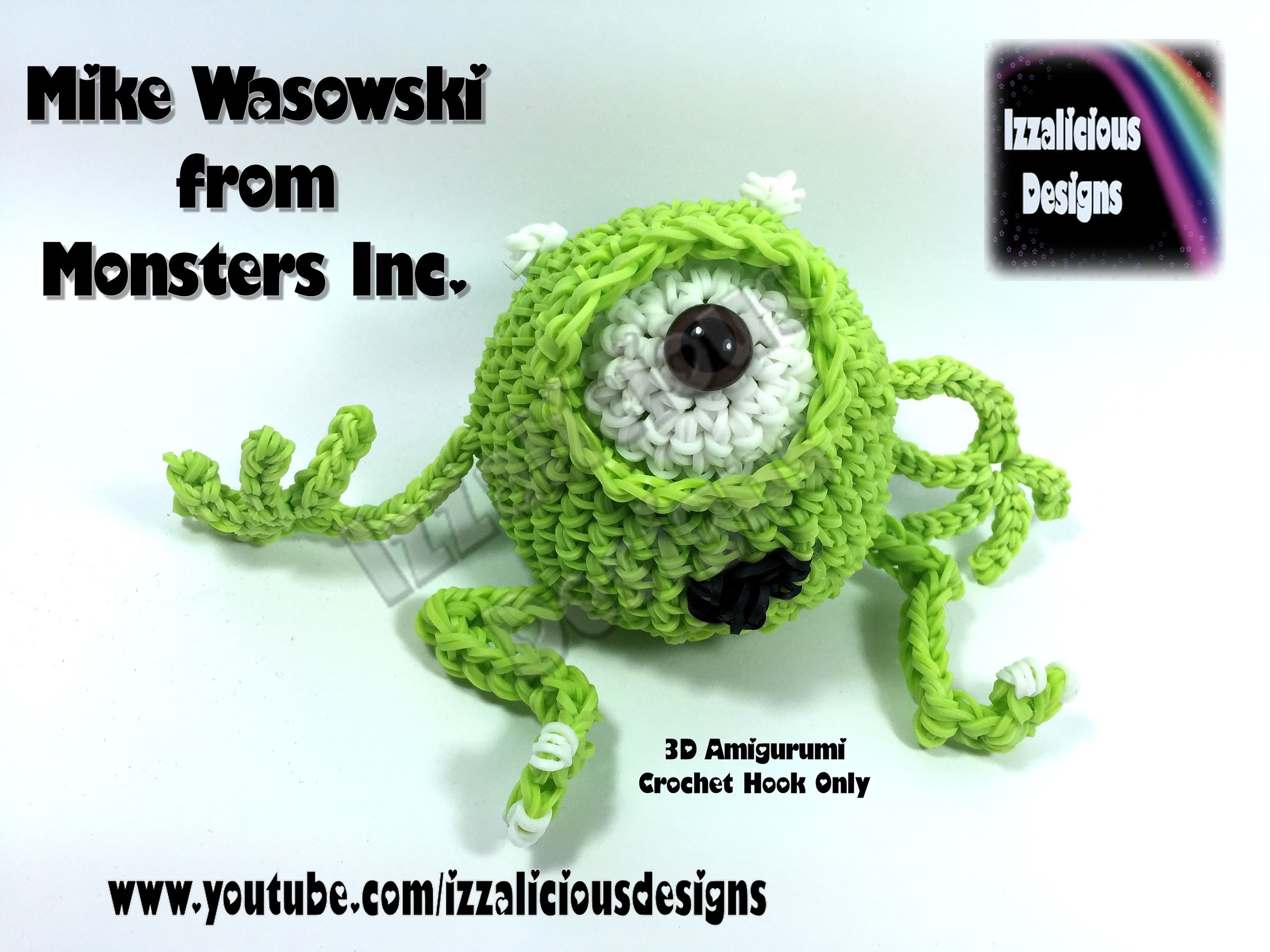 Rainbow Loom 3D Mike Wasowski (Monsters Inc) Figure.Doll Amigurumi.Loomigurumi ` Hook Only.Loom-less