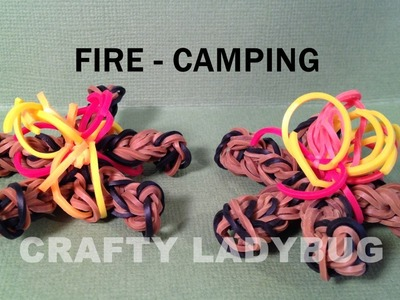 Rainbow Loom Charm FIRE - CAMPING How to Make by Crafty Ladybug