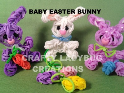 Rainbow Loom MINI EASTER BUNNY CHARM How to Make by Crafty Ladybug