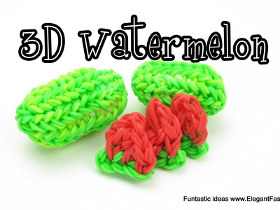 Rainbow Loom Watermelon Charm - How to - Food Series