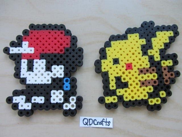 Walking Ash and Pikachu Perler Bead Sprites