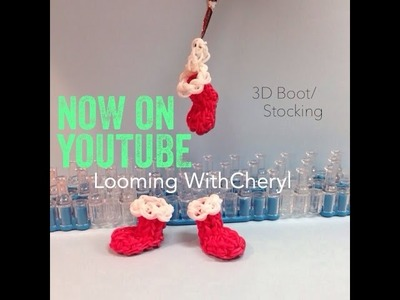 Rainbow Loom Santa Boot. Christmas Stocking Ornament 3D - Looming WithCheryl