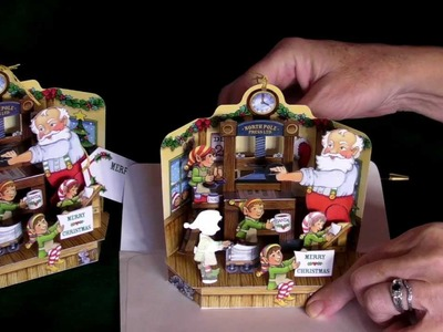 'Santa's Print Shop' Pop-Up Christmas Card Ornament