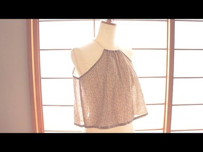 Sewing + Refashion Old blouse to Halter Top