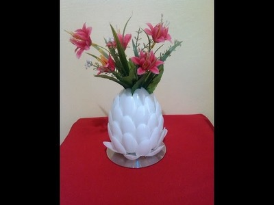DIY # 2 FLOWER VASE MADE OF  RECYCLED PLASTIC SPOONS