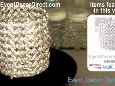 "Event Decor Direct TV - Elegant 7"" Crystal Pillar Candle Holder for Weddings & Events"