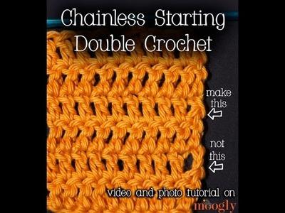 How to Crochet: Chainless Starting Double Crochet (Left Handed)