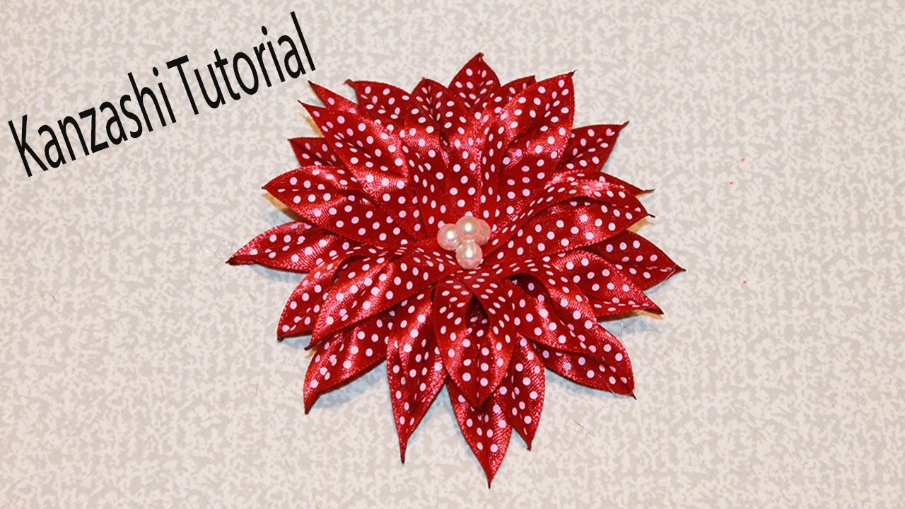 KANZASHI Flower with Ribbon. Kanzashi Tutorial