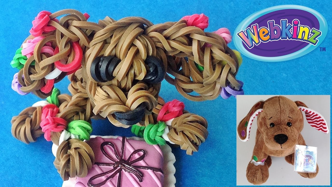 "Loom Bands. Rainbow Loom Christmas dog charm ""Webkinz Gingerbread Puppy"" inspired by Ganz"