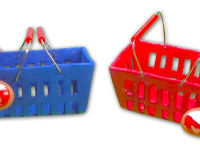 Miniature doll supermarket shopping hand basket tutorial - Dollhouse DIY
