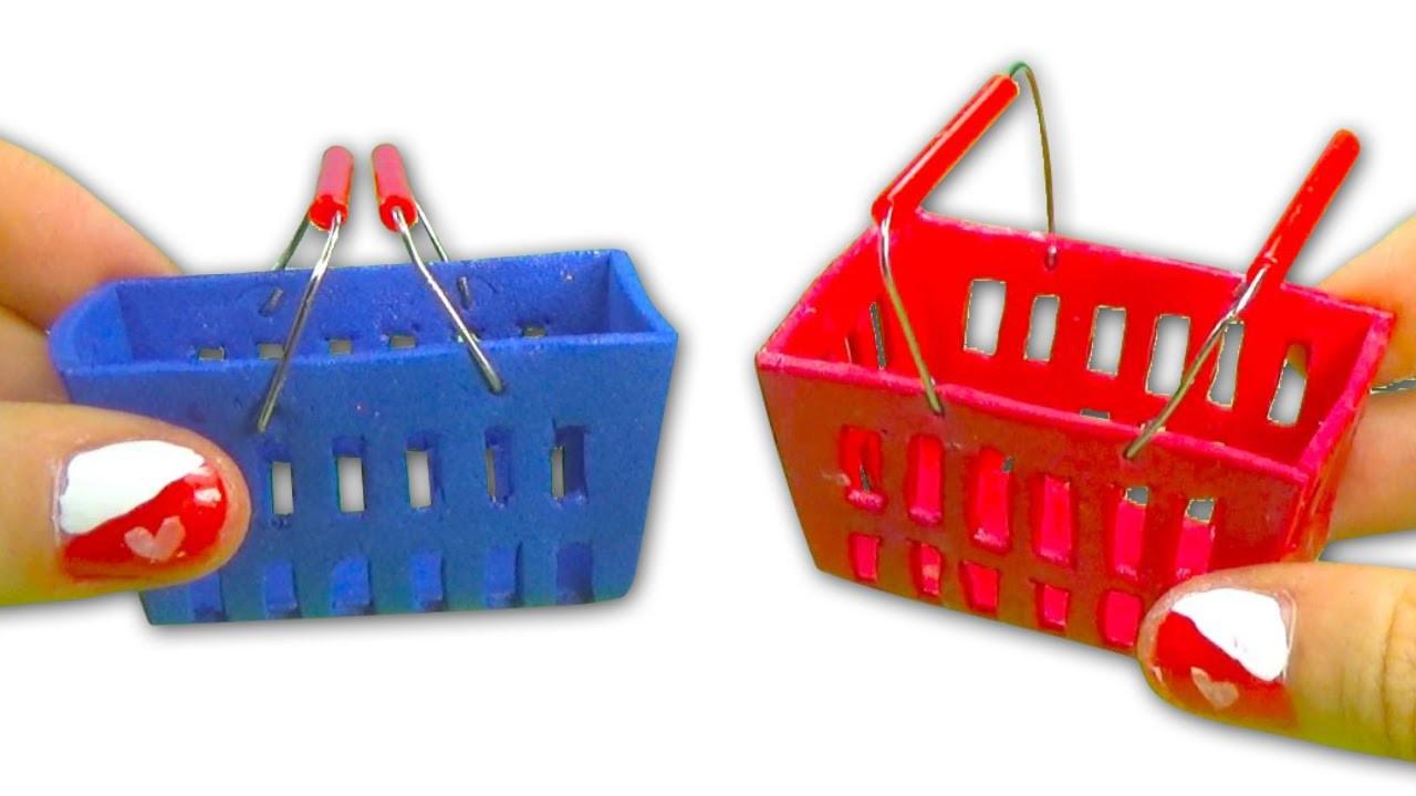 Miniature doll supermarket shopping hand basket tutorial - Dollhouse DIY