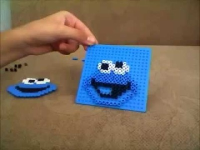 Perler bead.Hama bead. cookie monster!!!!!!!!!(tutorial)