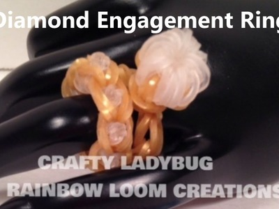 Rainbow Loom DIAMOND ENGAGEMENT BLING RING WEDDING CHARM Tutorial by Crafty Ladybug