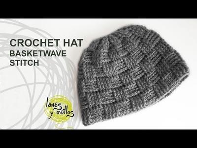 Tutorial Basketwave Crochet Unisex Hat in English