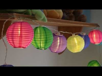 10 Multi Colour Chinese Lantern Battery String Lights
