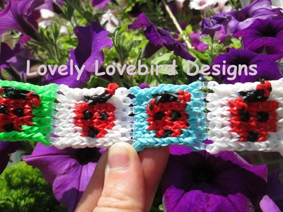 Alpha Loom Ladybug Mural Panel Bracelet. Rainbow Loom New Tutorial.