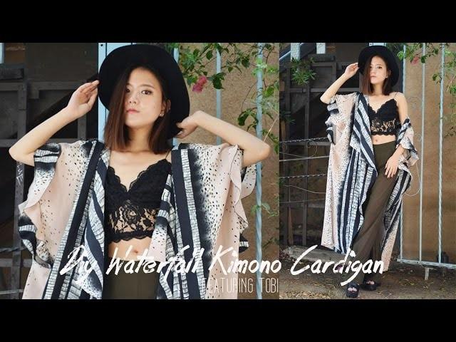 DIY Waterfall Sleeves Kimono Cardigan (ft. Tobi)