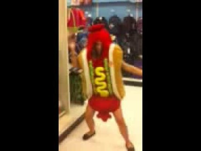 Funny dancing hot dog Halloween costume