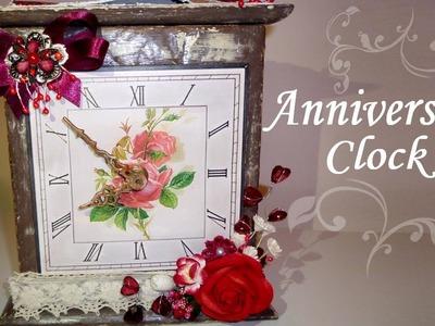 Altered Box - Anniversary Clock - Valentine's Day Gift Idea - Home Decor