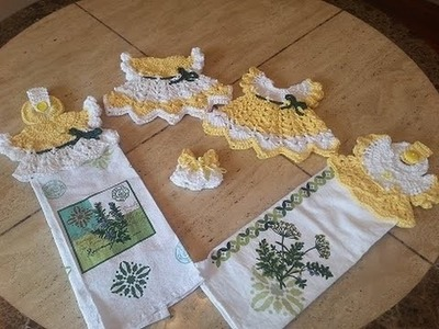 Crochet Sunshine Cottage Vintage Dress Towel Topper DIY tutorial